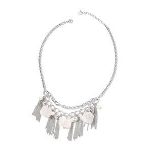White Crystal Quartz Silvertone Bib Necklace